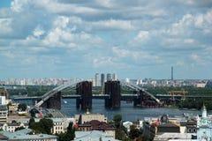 Ośniedziały niedokończony most w Kijów Obrazy Royalty Free