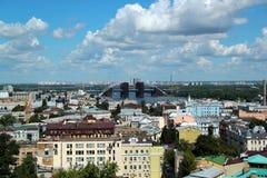 Ośniedziały niedokończony most w Kijów Fotografia Royalty Free