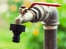 Ośniedziały ogrodowy faucet Fotografia Royalty Free