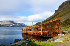 Ośniedziały shipwreck w fjord fotografia royalty free