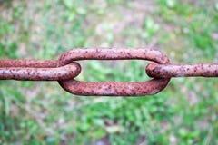 Ośniedziały utleniający brązu połączenie stary antyczny silny silny dokonanego żelaza metalu łańcuch przeciw tłu zieleń Obrazy Royalty Free