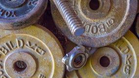 Ośniedziali ciężary wolno rdzewieją z lewej strony porzucają na podłoga Fotografia Royalty Free