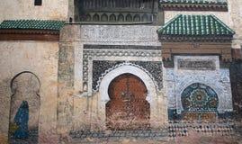 Ośniedziali obrazy na antyk ścianie w arabskim mieście Fes w Maroko Obraz Royalty Free