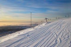 Ośrodek narciarski dźwignięcie Ranek obrazy stock