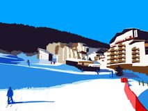 Ośrodek narciarski na słonecznym dniu z narciarką ilustracja wektor
