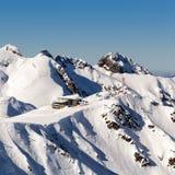 Ośrodek narciarski Rosa Khutor Góry Krasnaya Polyana 2014 2018 filiżanki gier olimpijski Russia Sochi zima świat Zdjęcie Royalty Free
