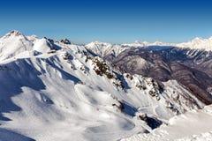 Ośrodek narciarski Rosa Khutor Góry Krasnaya Polyana 2014 2018 filiżanki gier olimpijski Russia Sochi zima świat Zdjęcia Royalty Free
