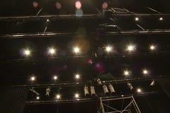 Oświetleniowy wyposażenie dla występów wśród teatru zdjęcie royalty free