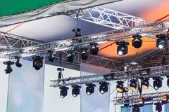 Oświetleniowy wyposażenie plenerowa koncertowa scena Zdjęcie Stock