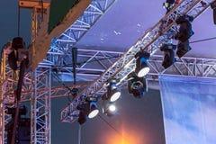 Oświetleniowy wyposażenie plenerowa koncertowa scena Obraz Stock
