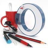` O与办公室材料的` 3d信件 图库摄影