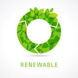 O可更新的绿色商标 免版税图库摄影