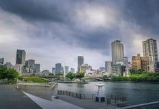 O河, chuoku,大阪,日本的全景图象 库存照片