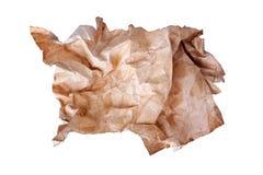 O ¡ de Ð emaranhou a bola velha do papel marrom o fundo branco no fim isolado acima, folha de papel usada suja enrugada imagem de stock royalty free