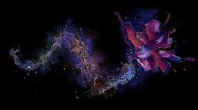 O álcool, água, líquido do café espirra com as gotas, decorativas ilustração 3D Imagens de Stock