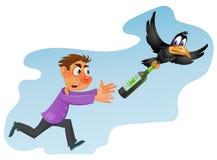 O álcool é prejudicial à saúde Homem bêbado que tenta travar o corvo ilustração stock