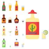 O álcool bebe a ilustração diferente bebida recipiente do vetor dos vidros da cerveja pilsen da garrafa do cocktail das bebidas ilustração do vetor