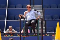 O árbitro do tênis no banco aberto Sabadell Conde de Godo do ATP Barcelona Fotografia de Stock Royalty Free