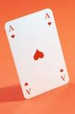 O ás de corações no fim acima Imagem de Stock