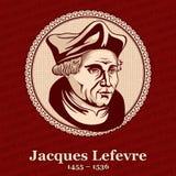 """O †1455 de Jacques Lefevre d 'Etaples """"1536 era um teólogo e um humanista que franceses era um precursor do movimento do protes ilustração stock"""