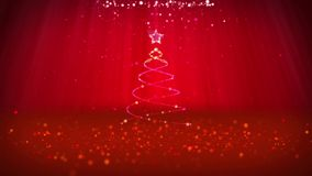 O ângulo largo disparou do tema do inverno para o fundo do Natal ou do ano novo com espaço da cópia Árvore do Xmas das partículas ilustração stock