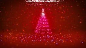 O ângulo largo disparou do tema do inverno para o fundo do Natal ou do ano novo com espaço da cópia Árvore do Xmas das partículas ilustração do vetor