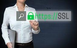 O écran sensível do navegador do SSL é mostrado pela mulher de negócios imagem de stock