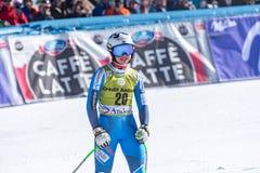 O ÉSTER LEDECKA AUT participa na corrida para a raça SUPER de G o WOMANÂ dos FINAIS do MUNDO do ESQUI do FIS Ski World Cup Finals imagem de stock