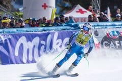 O ÉSTER LEDECKA AUT participa na corrida para a raça SUPER de G o WOMANÂ dos FINAIS do MUNDO do ESQUI do FIS Ski World Cup Finals foto de stock