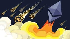 O éter cresce, Bitcoin falha a ilustração Fotos de Stock Royalty Free