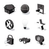 O ícone 3D branco ajustou 01 Fotografia de Stock Royalty Free
