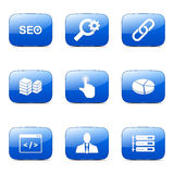 O ícone azul de SEO Internet Sign Square Vetora ajustou 11 Foto de Stock