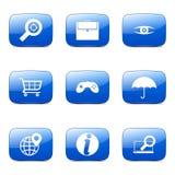 O ícone azul de SEO Internet Sign Square Vetora ajustou 10 Imagem de Stock Royalty Free
