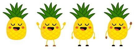 O ícone bonito do fruto do abacaxi do estilo do kawaii, olhos fechou-se, sorrindo com boca aberta Versão com as mãos levantadas,  ilustração stock
