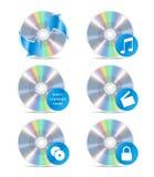 O ícone CD ajustou 3 ilustração do vetor