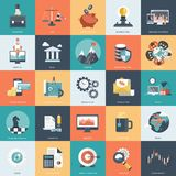 O ícone colorido ajustou-se para o negócio, a gestão, a tecnologia e as finanças Objetos lisos para Web site e apps móveis ilustração do vetor