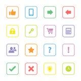 O ícone colorido da Web ajustou 2 com quadro arredondado do retângulo Imagem de Stock