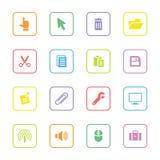 O ícone colorido da Web ajustou 3 com quadro arredondado do retângulo Fotos de Stock