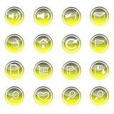 O ícone colorido da Web e da tecnologia ajustou-se no círculo ilustração stock