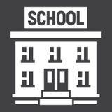 O ícone contínuo do prédio da escola, educação e aprende Foto de Stock Royalty Free