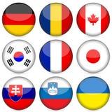 O ícone da bandeira nacional ajustou 3 Fotografia de Stock Royalty Free