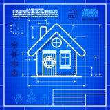 O ícone da casa do Natal gosta do desenho do modelo ilustração stock