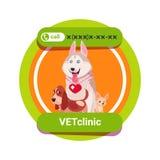 O ícone da clínica do veterinário com grupo de cães felizes isolou o conceito da medicina veterinária ilustração do vetor