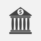 O ícone da construção de banco com dólar assina dentro o estilo liso Fotografia de Stock Royalty Free