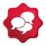 O ícone da conversação enevoado aumentou botão vermelho da etiqueta do starburst ilustração royalty free
