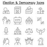 O ícone da eleição & da democracia ajustou-se na linha estilo fina ilustração stock