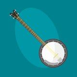 O ícone da guitarra do banjo amarrou a ferramenta clássica do som da arte da orquestra do instrumento musical e a sinfonia acústi ilustração stock