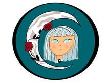 O ícone da menina da lua no azul com rosas e a lua atrás, a menina tem os olhos azuis, é desenhos animados fotos de stock royalty free