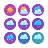 O ícone da previsão de tempo ajusta-se circularmente Imagem de Stock