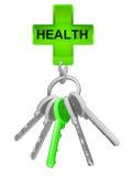 O ícone da saúde na porta-chaves com verde um isolou o vetor ilustração royalty free